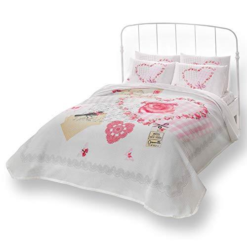 Double/Queen Amour Rose 100% coton Parure de lit Couvre-lit/couvre-lit Lot de 4 pcs
