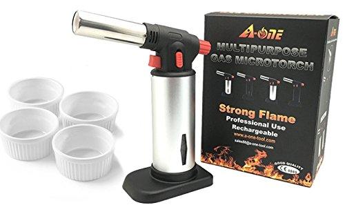 A-ONE Creme Brulee Kitchen Blow Torch with 4 White Round Ramekin