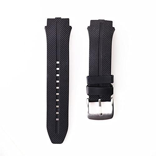 LIANYG Correa De Reloj Reloj Adecuado Correa de Goma de Silicona Pulsera Pulsera Banda de cinturón Blanco Negro 493 (Band Color : Black)