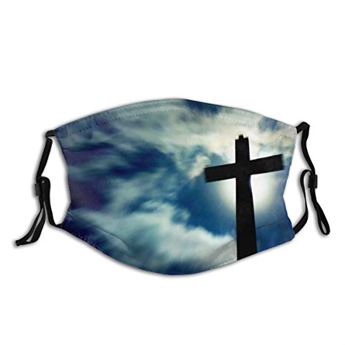 Christian Wallpaper Jesus Cross Christian Religion Print Fashion Sport for Work School Sun Uv Protection Balaclava Face Mask Mouth Protection Cotton with 2 Filters for Cycling Travel Outdoors
