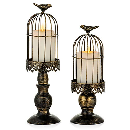 Sziqiqi Decorative Bird Cage Candle Holder Black Vintage Candlestick Holders Set of 2 Iron Shabby Chic Pillar Candle Holder for Christmas Mantle Fireplace Living Room Wedding Centrepieces for Tables