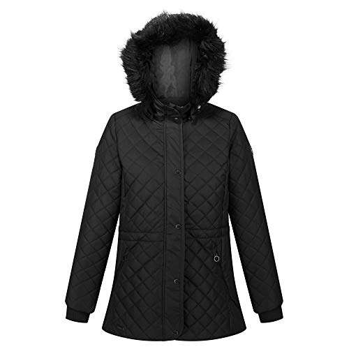 Regatta Womens Zella Insulated Quilted Lined Jacket With Detachable Hood Black 8