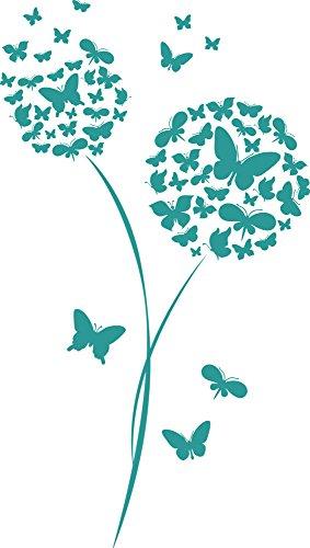 GRAZDesign Wandtattoo für Wohnzimmer Blume Schmetterlinge Pusteblume Wand-Deko mit Selbstklebender Folie (53x30cm//054 türkis)