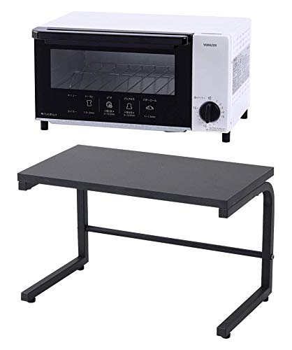 【オーブントースター&レンジ上ラック】 山善 オーブントースター タイマー15分 ベル付き ホワイト YTN-S100(W)【メーカー純正品】専用レンジ上ラック ブラック RKS-4022(BK)