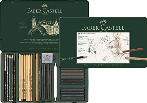 Faber-Castell 112977 - Pitt Monochrome Set im Metalletui, groß, 33-teilig