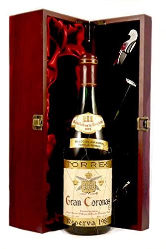 Gran Coronas Reserva 1981 Torres en una caja de regalo forrada de seda con cuatro accesorios de vino, 1 x 750ml