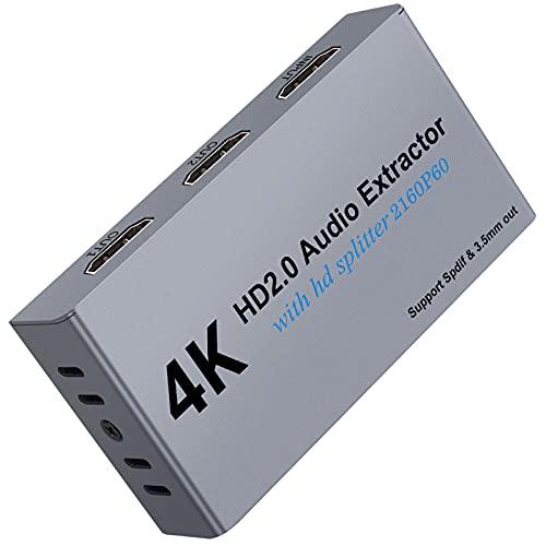Extractor de Audio 4K@60Hz 3D DAC Adaptador HDMI a HDMI 2.0 HDCP 2.2...