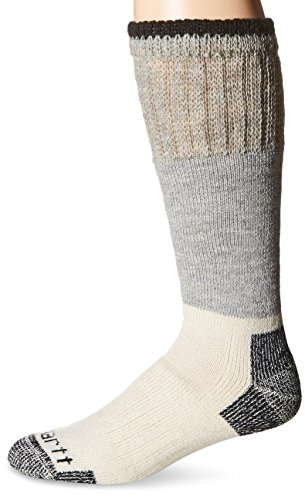 Carhartt Men's Arctic Wool Boot Crew Socks, Heather Black, Shoe Size: 6-12