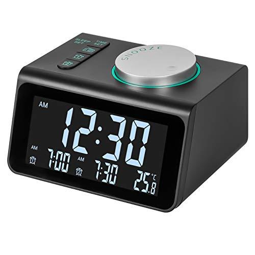 Radio Reloj Despertador, FM Reloj de Radio Digital Reloj de Cabecera con Puerto de Carga USB Doble, Pantalla de Temperatura, 5 Ajustable Brillo sin Tictac Reloj para Dormitorio ,Oficina y Viaje