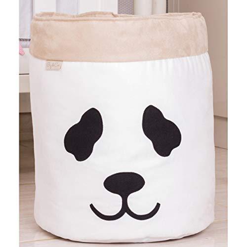 Giz de Cor Confecções, Cesto Organizador para Brinquedos Panda, branco/Caqui