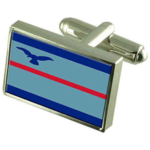 Select Gifts Marschall RAF Militairy England Flag Sterling Silber Manschettenknöpfe graviert Box