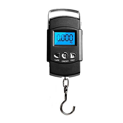 OZZlOR Portable LCD Digital Luggage Fish Scale with Tape Measure, Electronic Hanging Travel Weighing Scales for for Tackle Bag, Luggage, Suitcase, 110lb/50KG