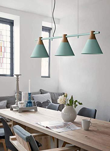 Lámpara de techo moderna y sencilla con diseño creativo y 3 luces, para interiores, rústica, para salón, comedor, cocina, tienda, metal y madera, bombilla E27, color verde claro