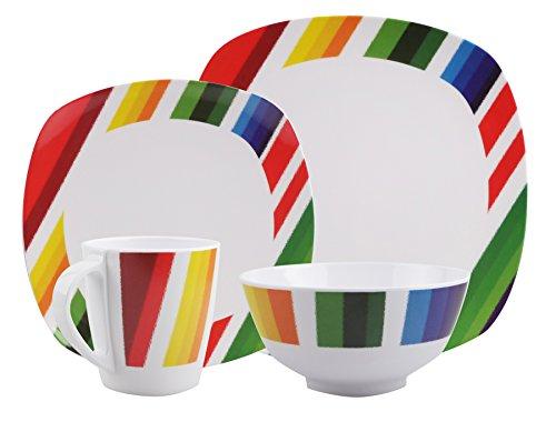 100% Melamin-Geschirr Color Strips weiss/bunt eckig wählbar 4-t für 1 P / 8-t für 2 P / 16-t für 4 P / 24-t für 6 P Camping-Geschirr Tafel-Service Picknik-Geschirr Trekking Outdoor Teller Tasse Schale