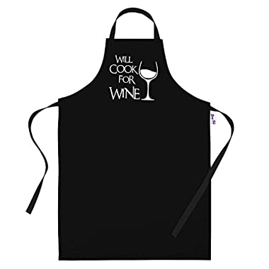 BBQ Apron Funny Aprons For Men Will Cook For Wine Barbecue Grill Kitchen Gift Ideas