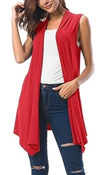 Women s Sleeveless Draped Open Front Cardigan Vest Asymmetric Hem  2XL Red