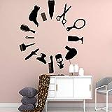 Adesivi murali Parrucchiere Decorazioni per la casa Cartoon Strumenti per tagliare i capelli Decalcomanie da parete in vinile Vetrina Decorazione moderna 46x42cm