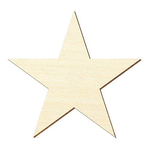 Bütic GmbH - Sagoma in compensato di pioppo a forma di stella a 5 punte, spessore 3 mm, diverse misure disponibili, Compensato, Höhe 5cm. Breite 5.25cm