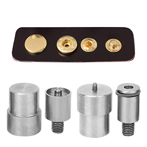 Molde de troquel de botón a presión de 4 piezas, kits de repuesto de acero inoxidable plateado para piezas de máquina de prensado manual para botón a presión 651/633/831
