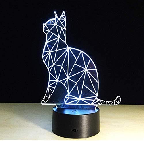 Encantador Gato 3D Luz de Noche Interruptor Táctil Led Animal Lámpara 7 Colores USB 3D Ilusión Lámpara de Escritorio Decoración del Hogar Como Niños Juguete Regalo Control Remoto Regalo