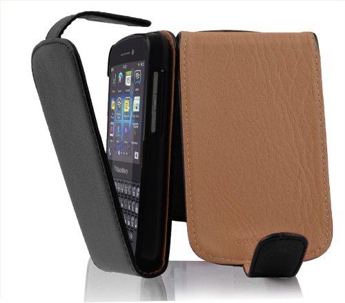 Cadorabo Hülle für BlackBerry Q10 in Oxid SCHWARZ - Handyhülle im Flip Design aus Strukturiertem Kunstleder - Hülle Cover Schutzhülle Etui Tasche Book Klapp Style