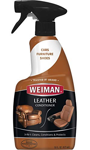 Weiman Leather Cleaner and Conditioner - 16 Ounce - Use On Finished Leather in Car Interior Shoe Boots Briefcase Handbags Jackets and Luggage