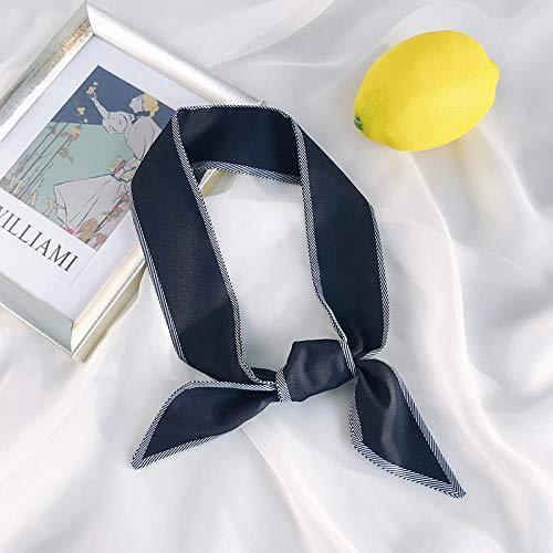 XINDUO Women's small square scarf,All-match decorative retro scarf-black_90*5,Plain Square Chiffon scarf for