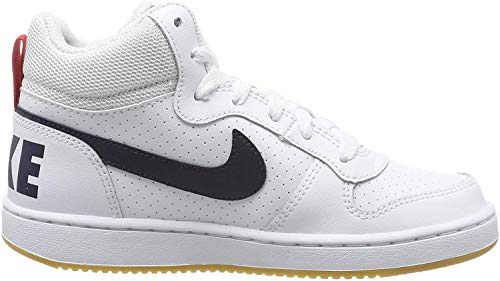 Nike Jungen Court Borough MID (GS) Basketballschuhe, Weiß (White/Obsidian/Univ Red/Gum Lt Brown 107), 40 EU