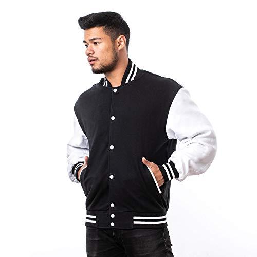 VINTAGE BASICS College Jacke - Unisex Baseball Jacke - Oldschool Sweatjacke aus Baumwolle für Herren und Damen - Schwarz M