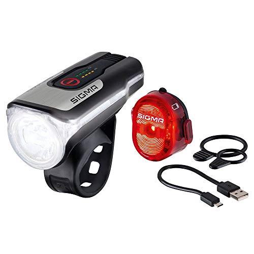 Sigma Sport Unisex– Erwachsene Aura 80 USB/Nugget 2 Beleuchtungsset, schwarz, Einheitsgröße