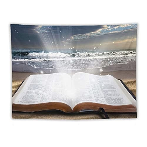 Tapiz para colgar en la pared, de la Biblia de Jesús en la playa, tapices hippie, para dormitorio, dormitorio, sala de estar, colcha de cama de 152 x 203 cm