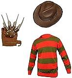 GirlzWalk Unisex Kids Boys Freddy Halloween Fancy Dress Hat Jumper & Glove Set (Jumper, Hat & Glove, 13 Years Old)