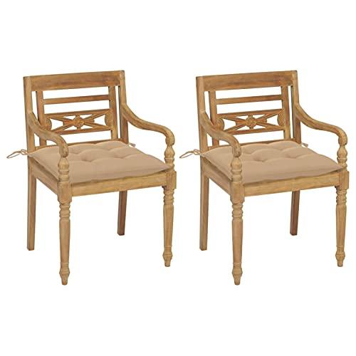 Tidyard Gartenstuhl mit Beigen Kissen Gartenstühle Gartensessel Batavia Stühle Gartenmöbel Sessel Essstuhl Teak Massiv 55 x 51,5 x 84 cm