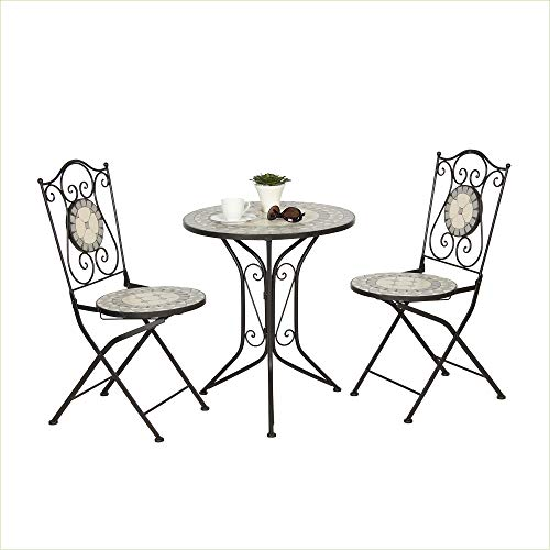 acamp Mosaik-Tisch mit 2 Mosaik-Stühlen Emilia Romagna | Gartenmöbel | Anthrazit/Ecru und Grau | Mosaikeinsätze | Stuhl: 38x38x92 cm | Tisch: Ø61xH71 cm | Eisen-Gestell pulverbeschichtet
