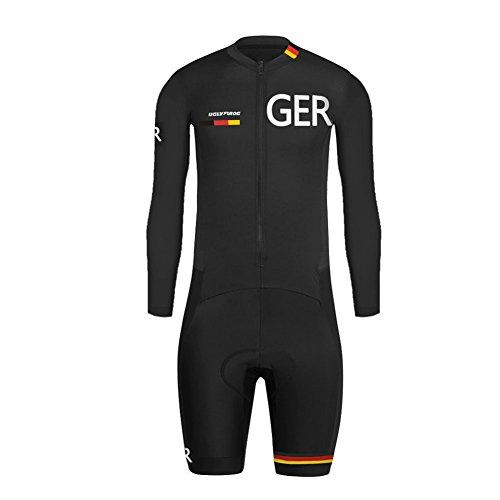 Uglyfrog Herren Triathlon Tri Suit Schnell Trocknender Skinsuit Atem Rennanzug Langarm+Short Legs Radfahren Skinsuit Fahrradtrikot Outdoor Sports Wear Bekleidung Fahrradbekleidung