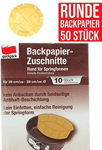 Unbekannt 50 Backpapier Zuschnitte aus naturbraunem Papier, rund für Springformen, beidseitige Antihaft-Beschichtung, hitzebeständig bis 220°C, Sparpack