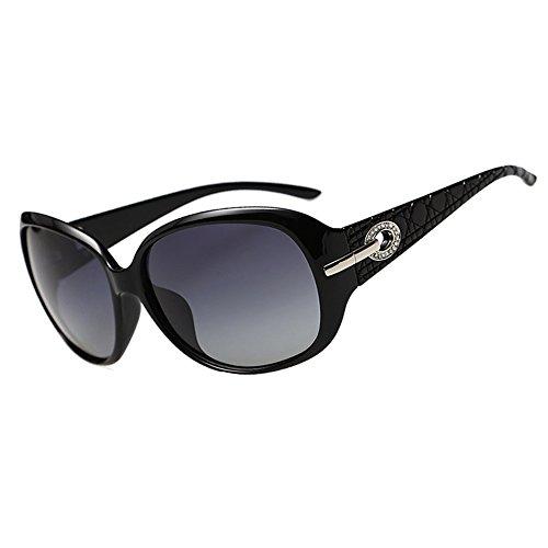DucoMujerGafasdesolClassicFashionableLadiesconlentespolarizadasdegrantamaño100%protecciónUV6214 (Negro brillante)