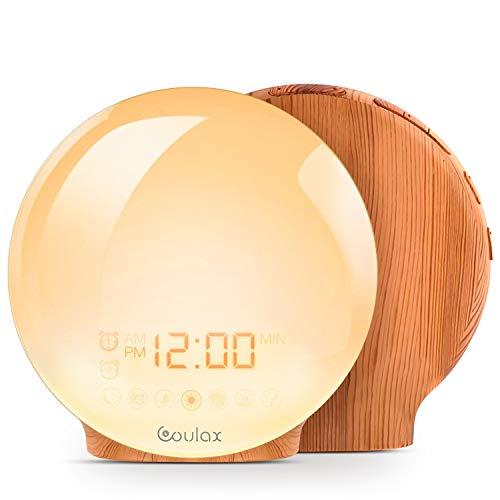 COULAX Wake Up Light Wood Grain Sunrise Alarm Clock Sunset Simulation Night Light with Nature...