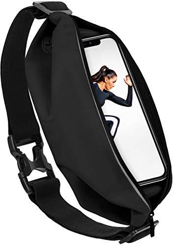 moex Sport Gürteltasche Leicht und Wasserfest - für alle Apple iPhone | In- und Outdoor Fitness Handytasche, Lauftasche, Hüfttasche, Jogging Handy-Hülle, Laufgurt, Bauchtasche Joggen, Schwarz