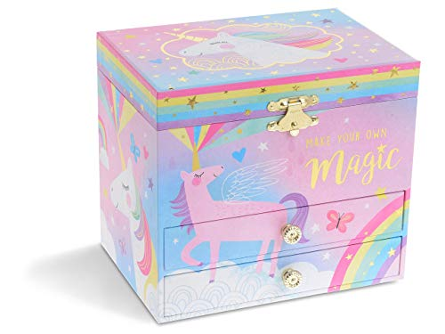 Jewelkeeper Musical Jewelry Box with 2 Pullout Drawers, Glitter Rainbow and Stars Unicorn Design, Over The Rainbow Tune 7