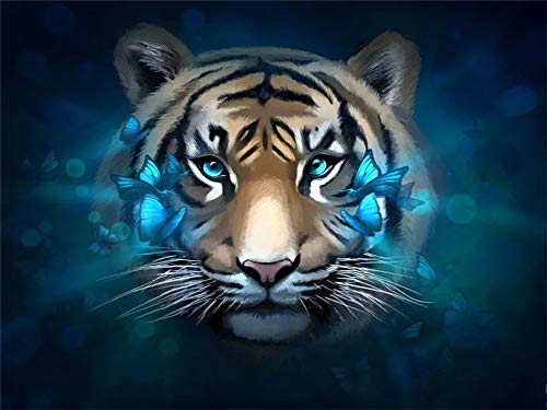 5D DIY Diamond Painting by Number Kit Butterfly Tiger Round Drill,70x50cm Adults and Kids Full Drill Beads Crystal Rhinestone Embroidery Cross Stitch Supplies Arts Craft for Home Wall Decor U2818