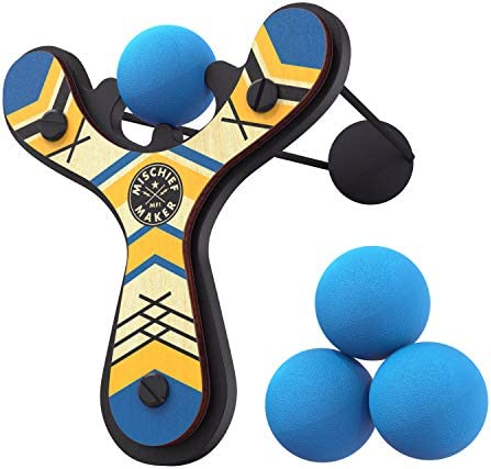 Mighty Fun Mischief Maker Wooden Toy Slingshot Real Wood and Soft Foam Balls Blue Classic product image
