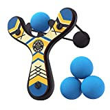 Mighty Fun Mischief Maker Wooden Toy Slingshot Real Wood and Soft Foam Balls (Blue Classic)