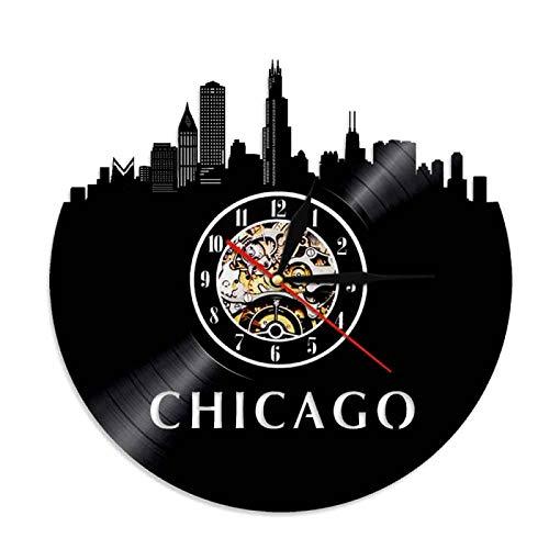 YINU La Ciudad de EE. UU. Chicago Skyline Reloj de Pared 3D Diseño Moderno Relojes de Pared con Registro de Vinilo Relojes de Pared 3D Idea de Regalo de Viaje Hecho a Mano