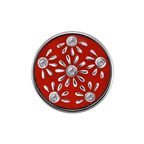 Preisvergleich Produktbild Quiges Damen Click Button 18mm Chunk Versilbert Rote Blume Ornament für Druckknopf Zubehör