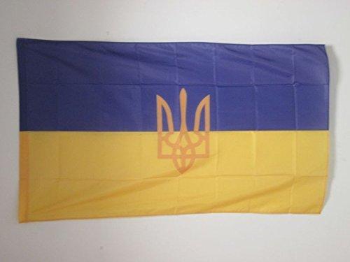 AZ FLAG Flagge Ukraine MIT Waffen 90x60cm - UKRAINISCHE Fahne 60 x 90 cm Scheide für Mast - flaggen Top Qualität