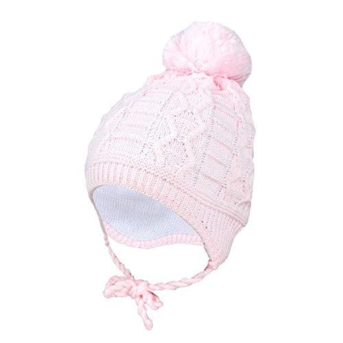 TupTam Baby Winter Mütze Strickmütze zum Binden, Farbe: Hellrosa, Größe: 45-47