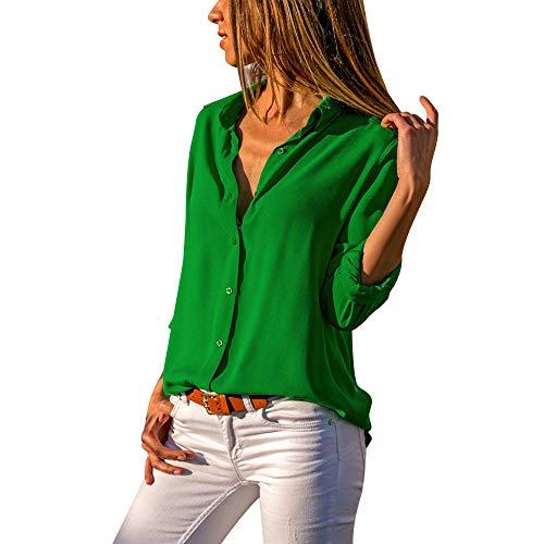 Camisas Mujer Tallas Grandes,Moda Camiseta sólida Mujer chifón Blusas de Oficina de Manga Larga Lisa de Mujer Elegantes de Vestir Fiesta Camisetas Chica para ZODOF