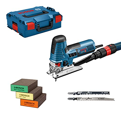 Bosch Professional Sierra de Calar GST 160 CE, 800W, Incluye adaptador para Aspiración, Cubierta, 3 Hojas de Sierra, 3 Esponjas, L-BOXX 136, Amazon Exclusive Set