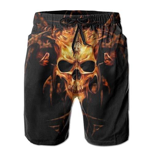 huibe Flame Heavy Metal Skull Herren Badehose Surfing Beach Board Shorts Badebekleidung, Größe XXL